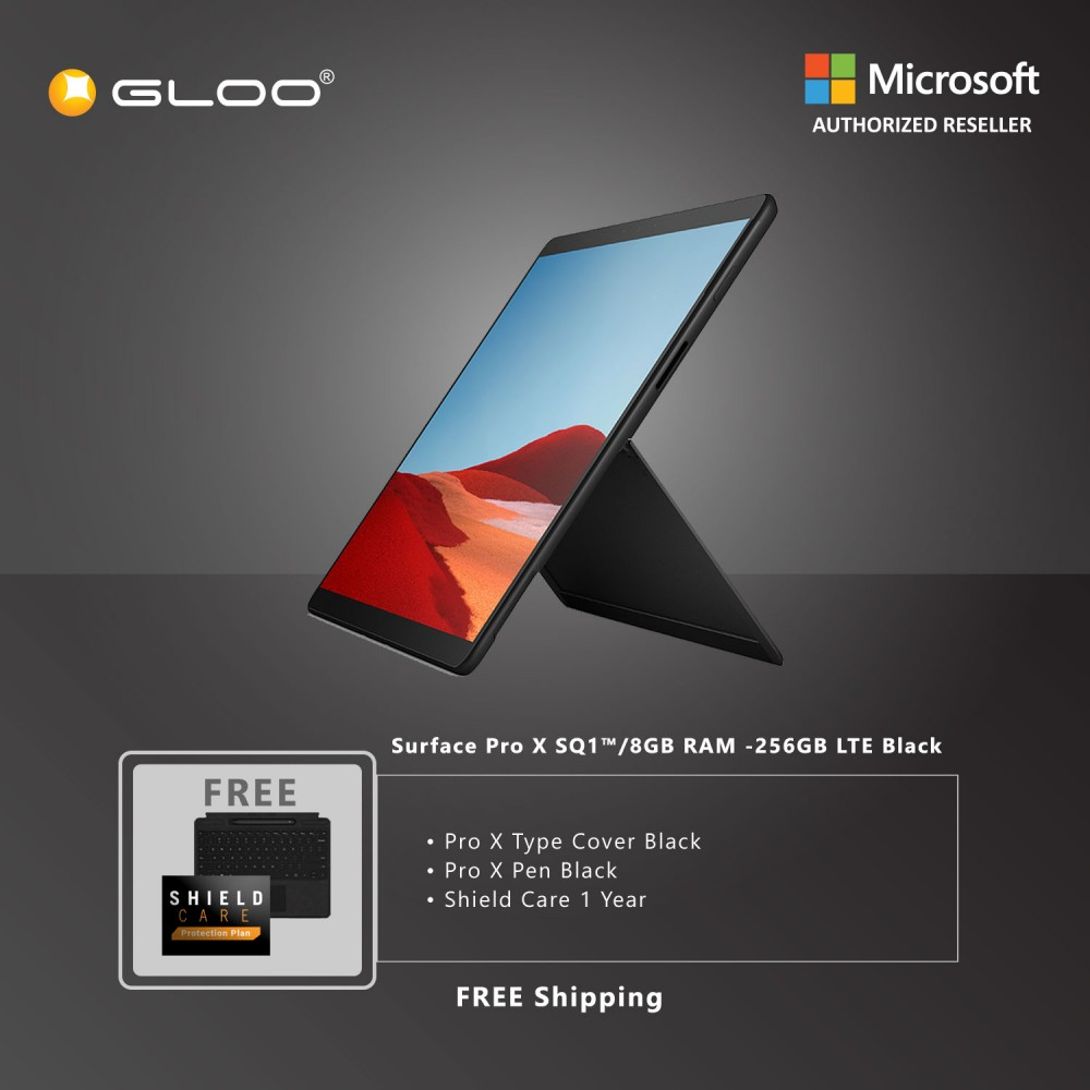 Microsoft Surface Pro X SQ1™/8GB RAM -256GB LTE Black + Pro X Type Cover Black + Pro X Pen Black + Shield Care 1 Year + F-Secure 1 Year