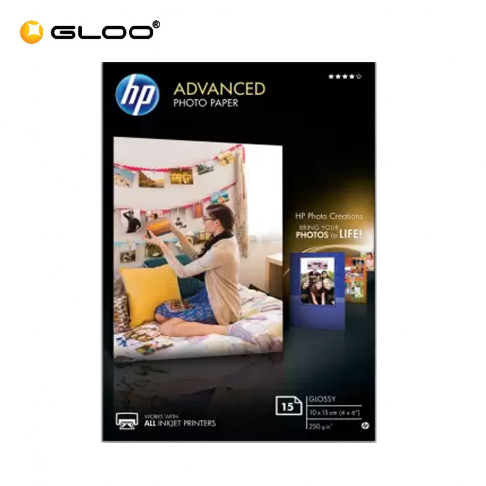 "HP Advanced Glossy Photo Paper 10x15cm (4x6"") 250g/m (15Sheets) 3HX58A"
