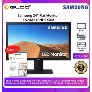 """Samsung 24"""" Flat Monitor LS24A310NHEXXM Bundle with Microsoft Office Personal 365"""