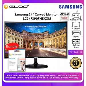 """Samsung 24"""" LCD ( Curve Monitor ) LC24F390FHEXXM Bundle with Microsoft Office Personal 365"""
