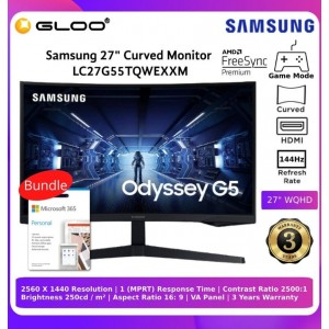 Samsung Odyssey G5 27'' Gaming Monitor (LC27G55TQWEXXM) Bundle with Microsoft Office Personal 365
