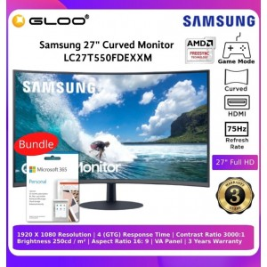 """Samsung 27"""" Curve Monitor LC27T550FDEXXM Bundle with Microsoft Office Personal 365"""