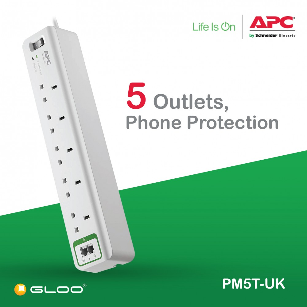 APC Essential SurgeArrest 5 outlets with phone protection 230V UK PM5T-UK - White