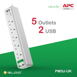 APC Essential SurgeArrest 5 outlets with 5V, 2.4A 2 port USB Charger 230V UK PM5U-UK - White