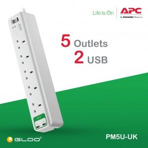 APC Essential SurgeArrest 5 outlets with 5V, 2.4A 2 port USB Charger 230V UK PM5U-UK - White