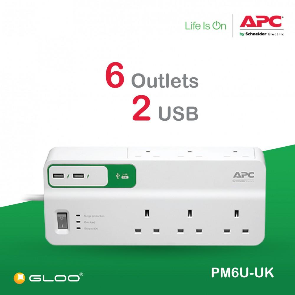 APC Essential SurgeArrest 6 outlets with 5V, 2.4A 2 port USB charger, 230V UK PM6U-UK - White