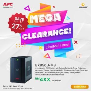 APC Back-UPS 950VA, 230V, AVR, Universal and IEC Sockets BX950U-MS - Black