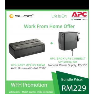 [Work From Home Combo A] APC Back-UPS Connect CP12010LI-UK - Black + APC EASY UPS BV 650VA, AVR, Universal Outlet, 230V BV650I-MS - Black