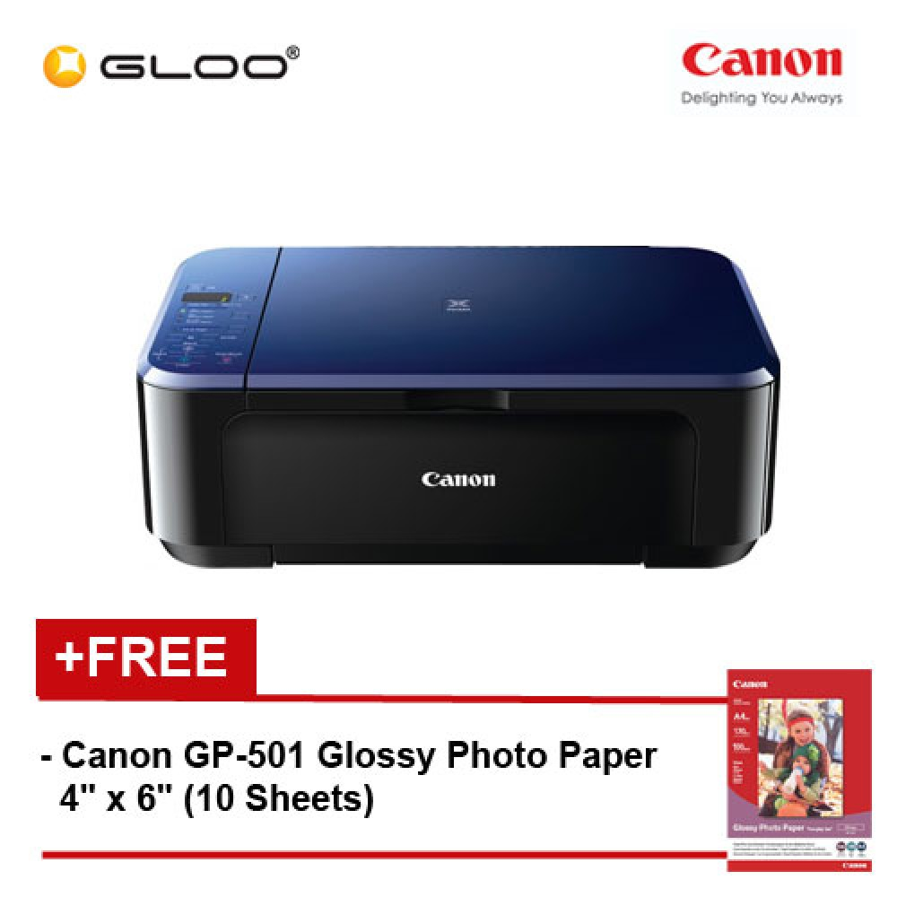 Canon Pixma E510 Multifunction Inkjet Printer All In One Aio Navy Blue Free Gp 501 Glossy Photo Paper 4