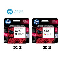 [4 Units] HP 678 Black Original Ink Advantage Cartridge CZ107AA x2 + HP 678 Tri-color Original Ink Advantage Cartridge CZ108AA x2