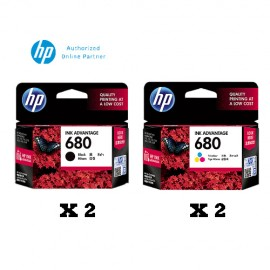 [Set of 4] HP 680 Black Ink Cartridge x2 + HP 680 Tri-Color Ink Cartridge x2