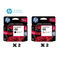 [4 Units] HP 46 Black Original Ink Advantage Cartridge CZ637AA x2 + HP 46 Tri-color Original Ink Advantage Cartridge CZ638AA x2