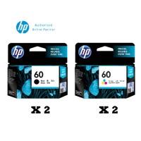 [Set of 4] HP 60 Black Ink Cartridge (CC640WA) x2 + HP 60 Tri-Colors Cartridge (CC643WA) x2
