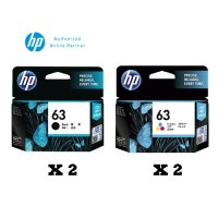 [Set of 4] HP 63 Black Ink Cartridge (F6U62AA) x2 + HP 63 Tri-Color Ink Cartridge (F6U61AA) x2