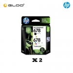 [2 Units] HP 678 Combo Pack Black/Tri-color Original Ink Advantage Cartridge L0S24AA