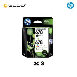 [3 Units] HP 678 Combo Pack Black/Tri-color Original Ink Advantage Cartridge L0S24AA
