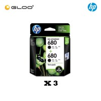 [3 Units] HP 680 Twin Pack Black Original Ink Advantage Cartridge X4E79AA
