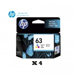 [4 Units] HP 63 Tri-color Original Ink Advantage Cartridge F6U61AA