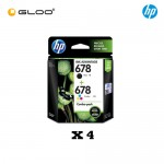 [4 Units] HP 678 Combo Pack Black/Tri-color Original Ink Advantage Cartridge L0S24AA