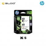 [5 Units] HP 60 Combo Pack Black/Tri-Color Original Ink Advantage Cartridge CN067AA