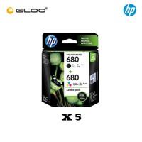 [5 Units] HP 680 Combo Pack Black/Tri-color Original Ink Advantage Cartridge X4E78AA