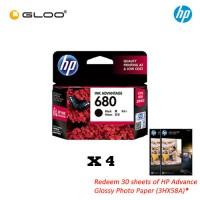 [Set of 4] HP 680 Black Ink Cartridge [Redeem 2 packs of HP Advance Glossy Photo Paper worth RM32 (3HX58A)*]