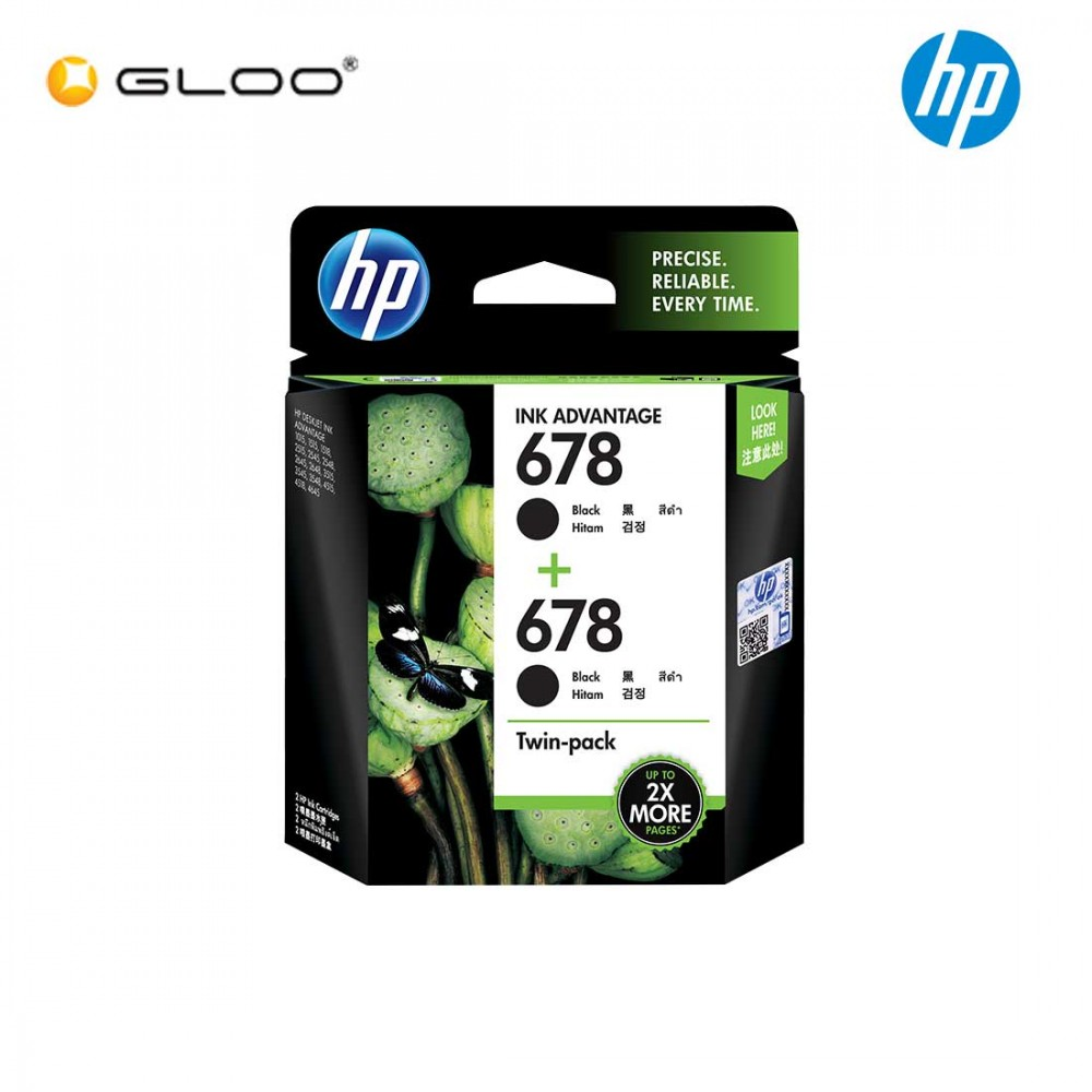 HP 678 Twin Pack Black Original Ink Advantage Cartridge L0S23AA