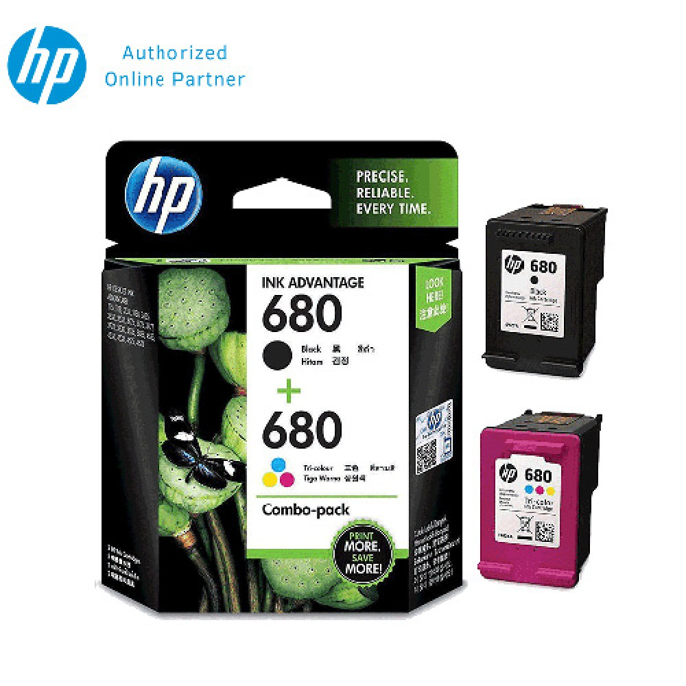 HP 680 Combo Pack Black/Tri-color Original Ink Advantage Cartridge X4E78AA