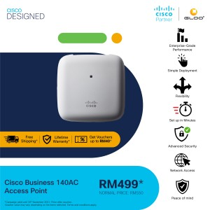 Cisco Business 140AC Wi-Fi Access Point (802.11ac, 2x2, 1 GbE Port, Ceiling Mount, Limited Lifetime Protection) - CBW140AC-K [Use GLOOCISCOP to get RM40 off]