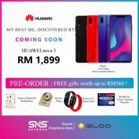 PRE-ORDER Huawei Nova 3 Black (6GB RAM + 128GB ROM) Warranty By Huawei Malaysia [FREE HUAWEI Bluetooh Headphone + Huawei iRing + Huawei A2 Smartband(Random Color) + Shielcare 1 Yr Extended Warranty)