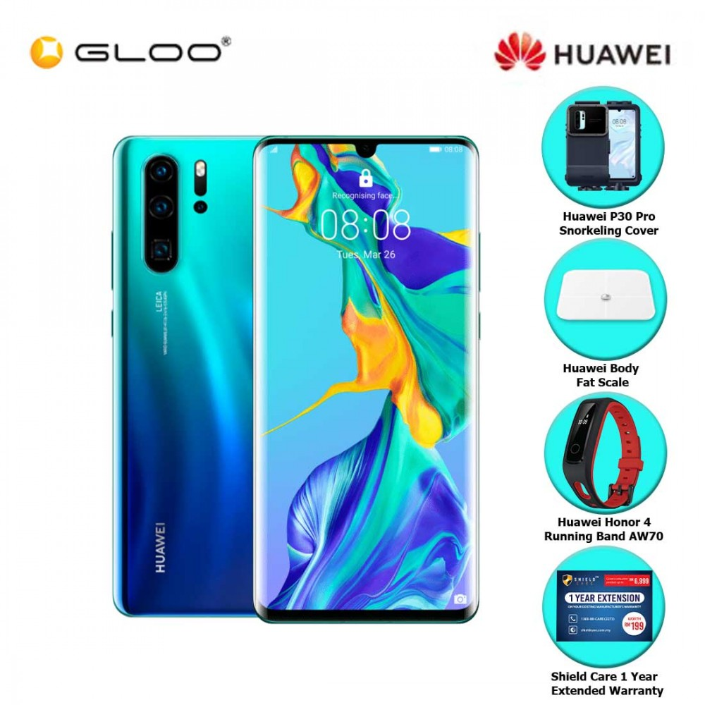 Huawei P30 Pro 8GB + 256GB Aurora + FREE Huawei P30 Pro Snorkeling Cover + Huawei Body Fat Scale 6901443198375 + Huawei Honor 4 Running Band - AW70 + Shield Care - 1 Year Extended Warranty