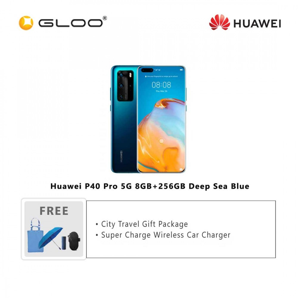 Huawei P40 Pro 5G 8GB+256GB Deep Sea Blue [FREE Huawei City Travel Gift Package (Pkg Promo) HWP0052 + Huawei Super Charge Wireless Car Charger]