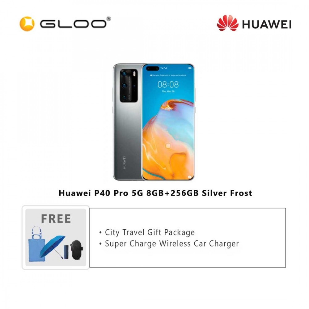 Huawei P40 Pro 5G 8GB+256GB Silver Frost [FREE Huawei Super Charge Wireless Car Charger + Premium Gift Box (Headset/Selfie Stick/iRing)]