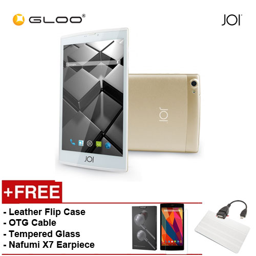 JOI 7 Lite 4G Gold -IW-Q77CG {Free Leather Flip Case- Beige + Tempered Glass Screen Protector + OTG Cable + Nafumi X7 Earpiece(Grey) }