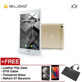 JOI 7 Lite 4G Gold -IW-Q77CG {Free Leather Flip Case- Black + Tempered Glass Screen Protector + OTG Cable + Nafumi X7 Earpiece(Gold) }