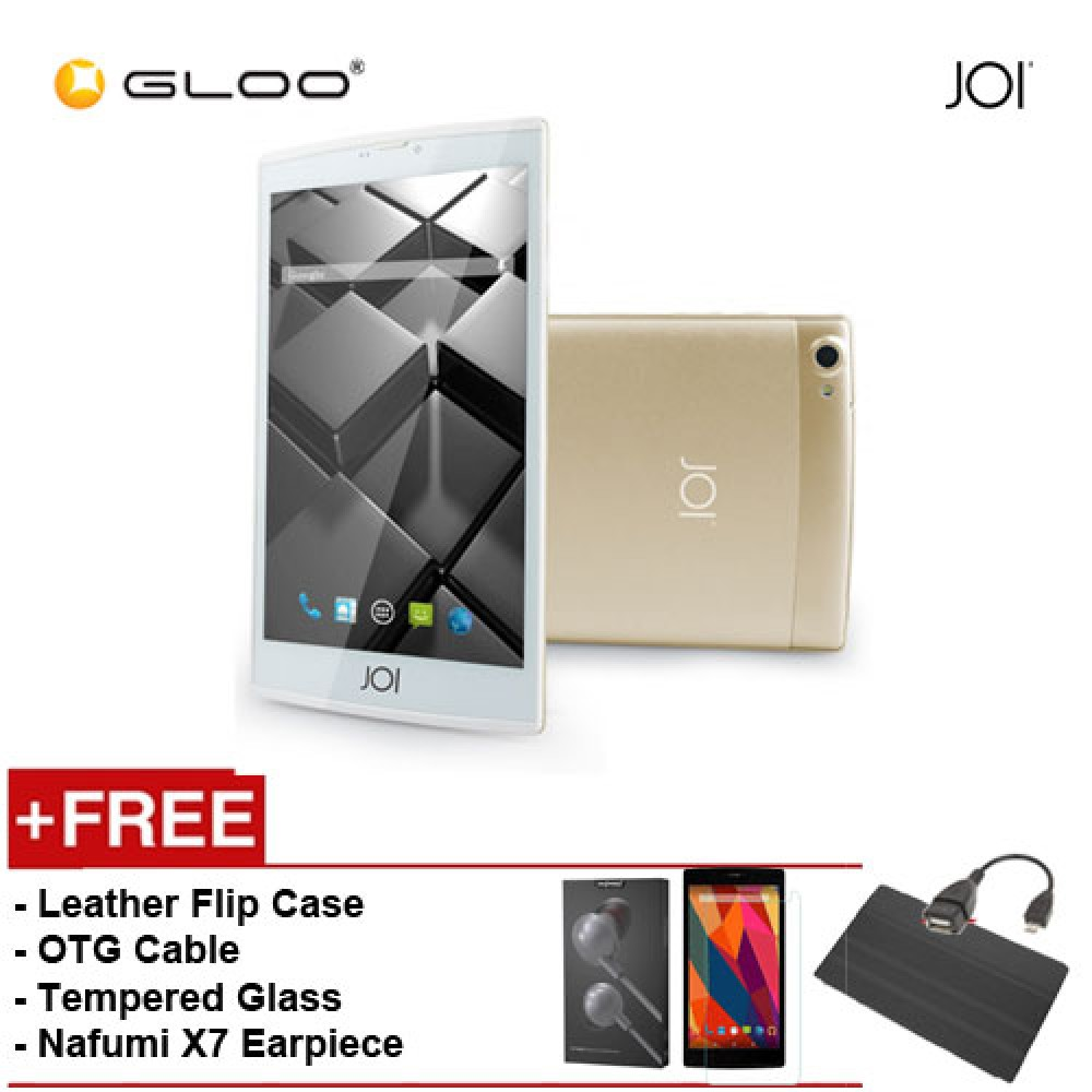 JOI 7 Lite 4G Gold -IW-Q77CG {Free Leather Flip Case- Black + Tempered Glass Screen Protector + OTG Cable + Nafumi X7 Earpiece(Grey) }