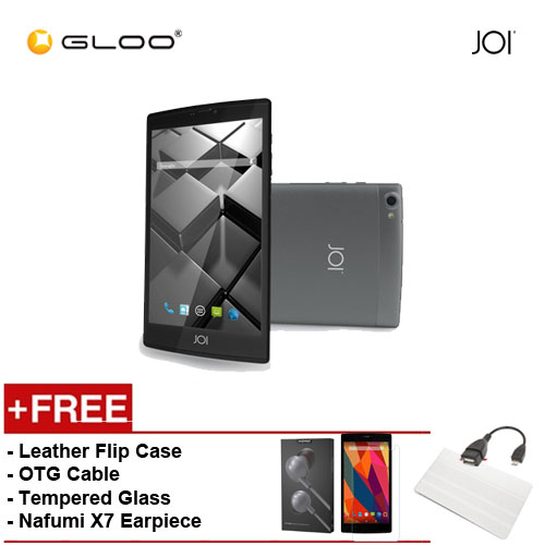 JOI 7 Lite 4G Dark Grey -IW-Q77DG {Free Leather Flip Case- Beige + Tempered Glass Screen Protector + OTG Cable + Nafumi X7 Earpiece(Grey) }