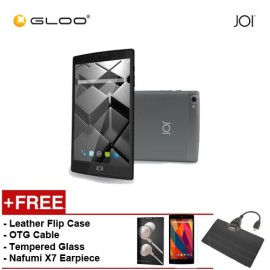 JOI 7 Lite 4G Dark Grey -IW-Q77DG {Free Leather Flip Case- Black + Tempered Glass Screen Protector + OTG Cable + Nafumi X7 Earpiece(Gold) }