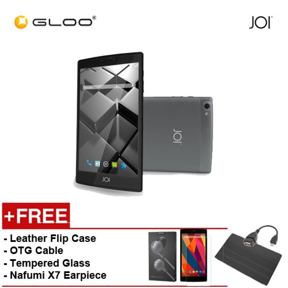 JOI 7 Lite 4G Dark Grey -IW-Q77DG {Free Leather Flip Case- Black + Tempered Glass Screen Protector + OTG Cable + Nafumi X7 Earpiece(Grey) }