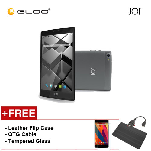 JOI 7 Lite 4G Dark Grey -IW-Q77DG {Free Leather Flip Case- Black + Tempered Glass Screen Protector + OTG Cable}