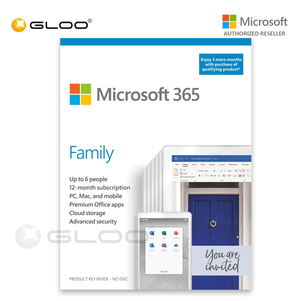 Microsoft Office 365 Family (ESD) 15 Months Pocket Card [Previously Known as Office 365 Home] - 6GQ-01403