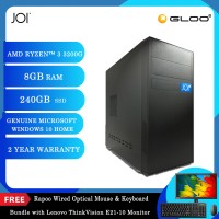 """JOI PC A1032 (Ryzen 3 3200G/8G/240GB SSD/W10H)+Lenovo 20.7"""" Monitor+Free Combo Wired Keyboard+Mouse"""