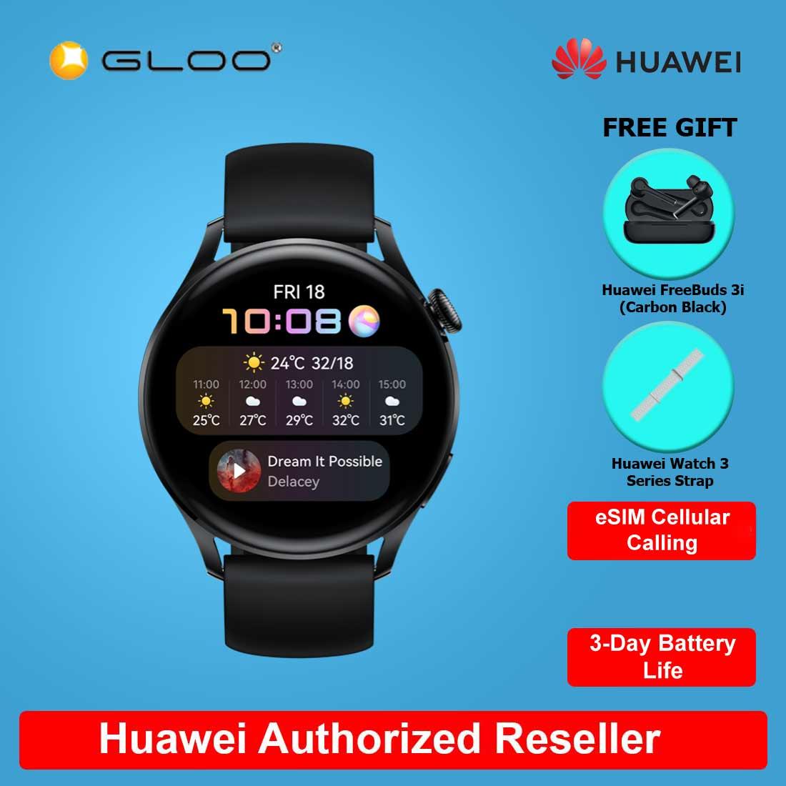 [Pre-order] Huawei Watch 3 FREE Huawei FreeBuds 3i Carbon Black + Huawei Watch 3 Series Strap (ETA:15.7.2021)
