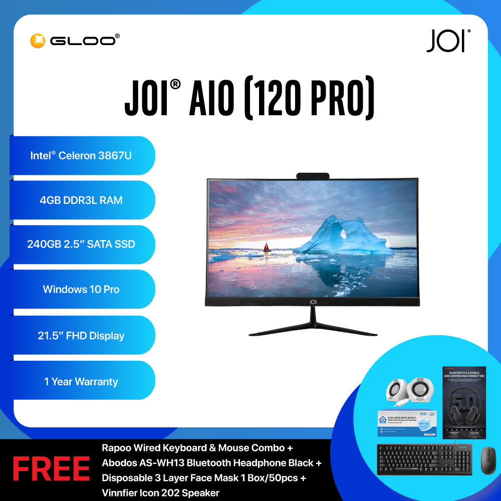 "JOI AIO (120 Pro) PT-A120PR (Cel 3867U/4GB/240GB SSD/21.5""/W10P/Black) + Rapoo Wired Keyboard and Mouse Combo + Abodos AS-WH13 Bluetooth Headphone Black + Disposable 3 Layer Face Mask 1 Box/50pcs + Vinnfier Icon 202 Speaker"