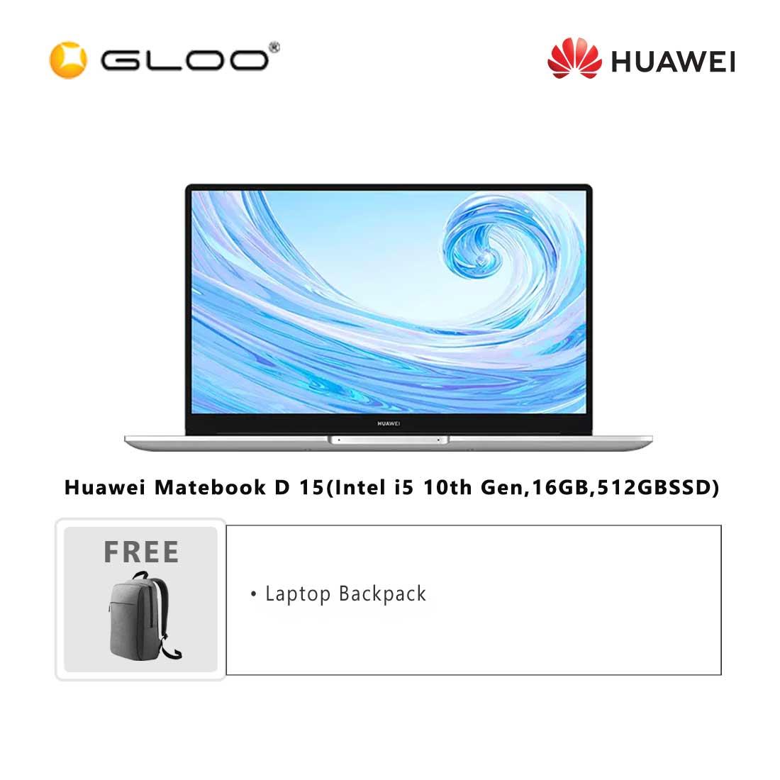 Huawei Matebook D 15(Intel i5 10th Gen,16GB,512GBSSD)-53012BYF + FREE Huawei CD60 Matebook Series Laptop Backpack Grey [BPPHUAWBYFNBAG]