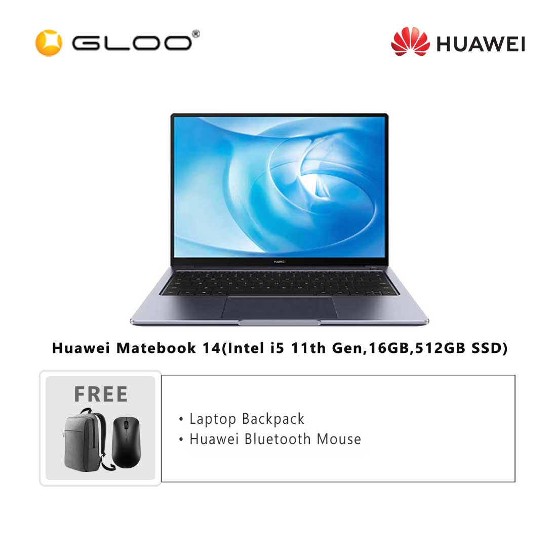 Huawei Matebook 14(Intel i5 11th Gen,16GB,512GB SSD)-53011PVM + FREE Huawei CD60 Matebook Series Laptop Backpack Grey + FREE Huawei CD20 Bluetooth Mouse Black [BPPHUAWPVMBAGM]