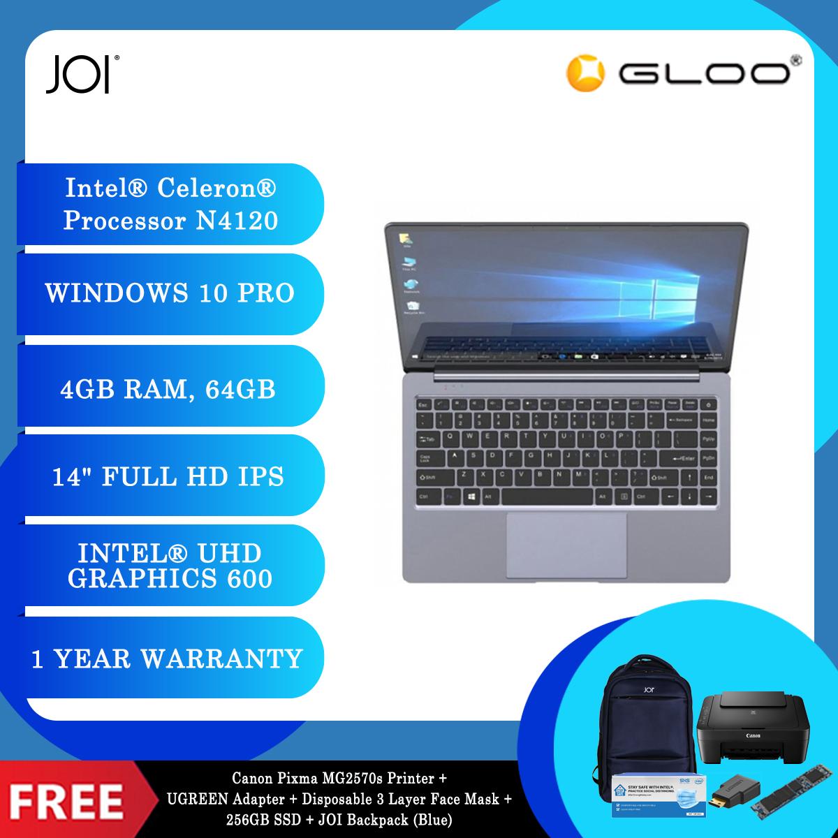 "JOI Book 155 Pro (N4120,4GB+64GB,14"" FHD,W10Pro) + Canon Pixma MG2570s Printer + UGREEN Mini HDMI Male To HDMI Female Adapter - 20101 + Disposable 3 Layer Face Mask 1 Box/50pcs + 256GB SSD + JOI Backpack (Blue) [BPPJOI0155PRBL]"