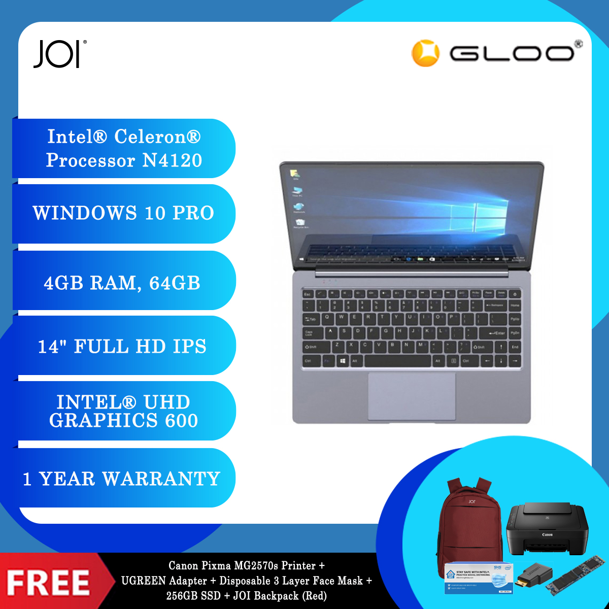 """JOI Book 155 Pro (N4120,4GB+64GB,14"""" FHD,W10Pro) + Canon Pixma MG2570s Printer + UGREEN Mini HDMI Male To HDMI Female Adapter - 20101 + Disposable 3 Layer Face Mask 1 Box/50pcs + 256GB SSD + JOI Backpack (Red) [BPPJOI0155PRRD]"""