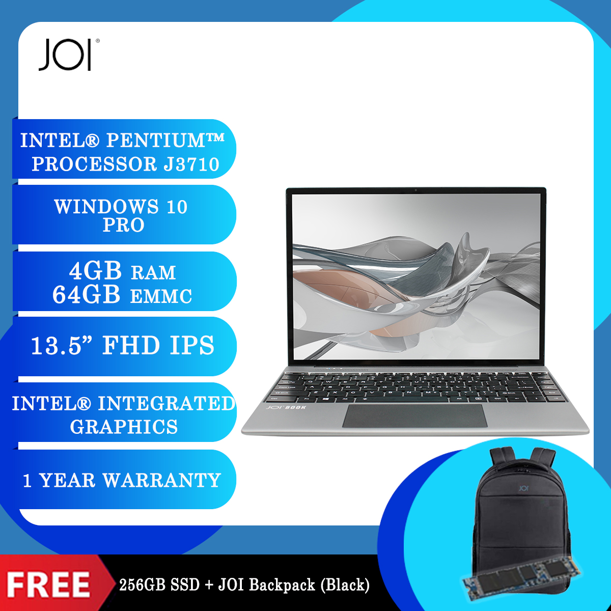 """JOI Book 200 Pro (Pentium J3710,4GB,64GB,13.5"""",W10Pro,GRY) + Free 256GB SSD + JOI Backpack Black [BPPJOI0200GBLK]"""