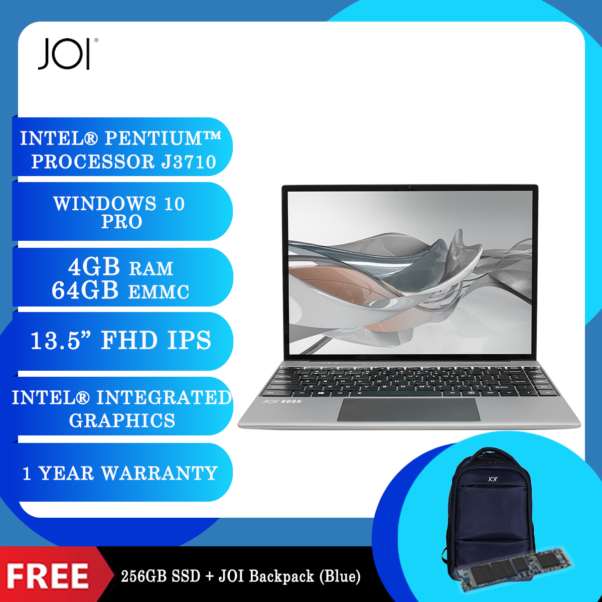 """JOI Book 200 Pro (Pentium J3710,4GB,64GB,13.5"""",W10Pro,GRY) + Free 256GB SSD + JOI Backpack Blue [BPPJOI0200GBLU]"""